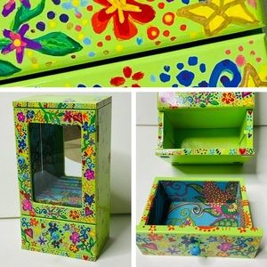Jewelry Box Trinket Hand Painted Whimsical Floral